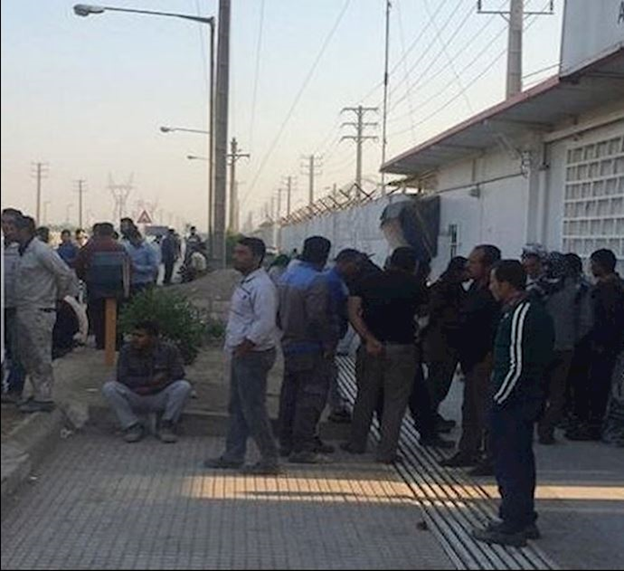 Employees of North Khorasan Province Electricity Department in the city of Bojnourd, northeast Iran, holding a protest rally