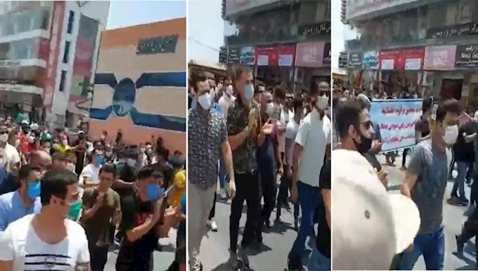 Storeowners protesting and marching in the city of Qeshm, southern Iran – July 26, 2020