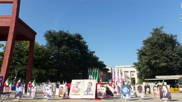 A rally of Iranian opposition PMOI/MEK supporters in front of the UN European headquarters in Geneva