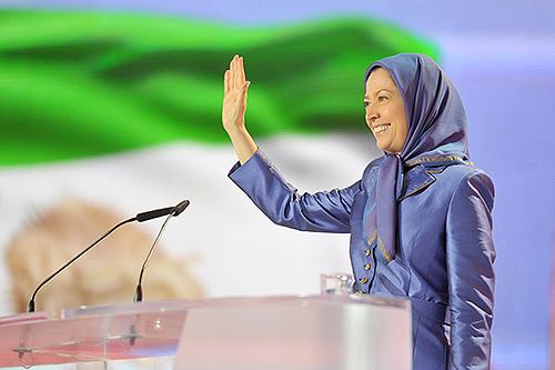 Iranian opposition leader Mrs. Maryam Rajavi at the annual Iran Freedom rally held in Paris on June 13, 2015